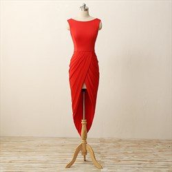 Elegant Red V Back Cap Sleeve High Low Bodycon Short Evening Dress