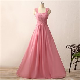 Sweetheart Neckline Ruched Bodice A-Line Chiffon Gown With Lace Strap