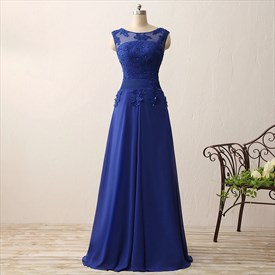 Illusion Royal Blue Cap Sleeve Lace Applique Chiffon Long Prom Dress