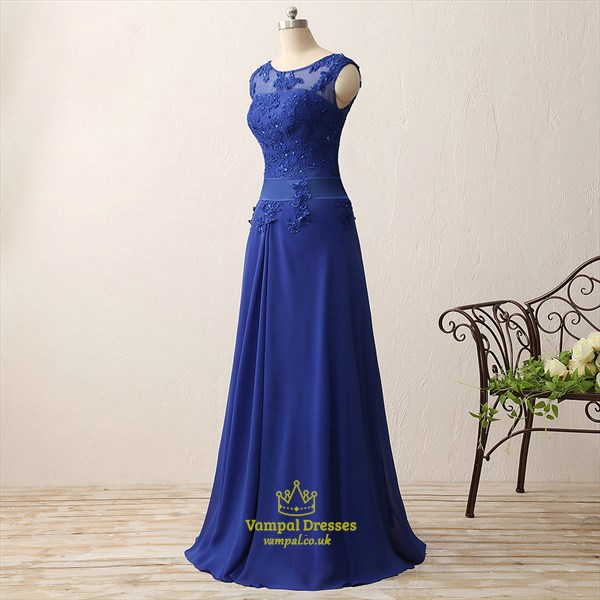 Illusion Royal Blue Cap Sleeve Lace Applique Chiffon Long Prom Dress