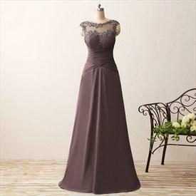 Sleeveless Empire Waist Long Chiffon Prom Dress With Illusion Neckline