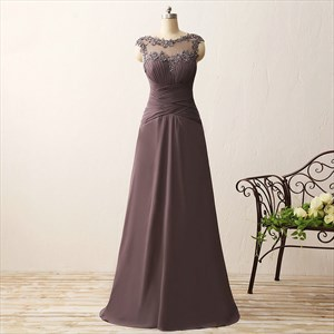Sleeveless Empire Waist Long Chiffon Prom Dress With Illusion Neckline