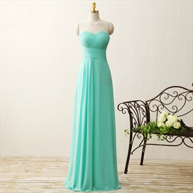 Turquoise Strapless Ruched Top Empire Waist Chiffon Bridesmaid Dress