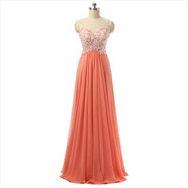 Floor Length Sleeveless Sweetheart A-Line Chiffon Prom Dress With Lace
