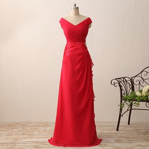 Red Cap Sleeve V-Neck Chiffon Long Prom Dress With Embellished Waist