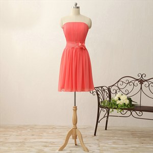 Coral Strapless A-Line Short Ruched Chiffon Bridesmaid Dress With Belt