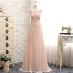 Illusion Peach Sleeveless Lace Embellished Bodice Chiffon Prom Gown