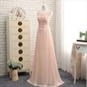 Illusion Peach Sleeveless Lace Embellished Bodice Chiffon Prom Gown