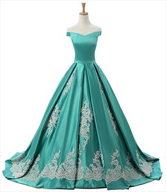 Off The Shoulder A-Line Floor Length Lace Embellished Satin Ball Gown