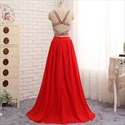 Red Two Piece A-Line Floor Length Sleeveless Prom Dress With Beading