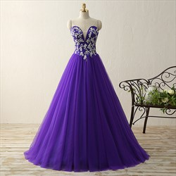 Purple Strapless Sweetheart Floor Length Tulle Ball Gown With Applique