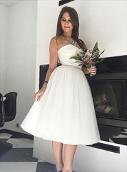 Tea Length White Strapless Sweetheart Neckline A-Line Wedding Dress