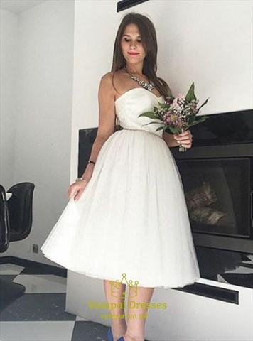 Tea length white strapless sweetheart neckline a line for Sweetheart neckline tea length wedding dress