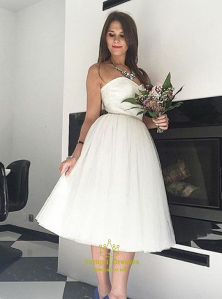 White Strapless Tea Length Dress