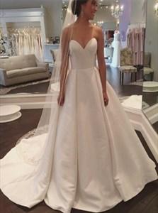 Elegant Simple Strapless Sweetheart Neck Chapel Length Wedding Dress