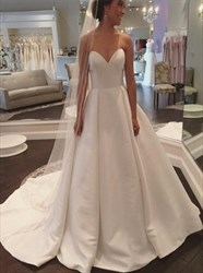 Elegant Simple Strapless Sweetheart Neck Chapel Length Wedding Dress