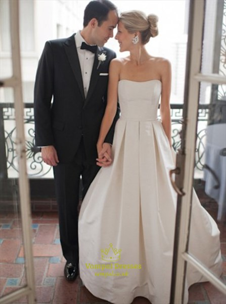 Simple Strapless Floor Length A Line Satin Wedding Dress With Low Back Sku Fs2488