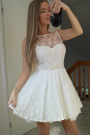 Illusion White Sleeveless Lace Overlay Homecoming Dress With Open Back
