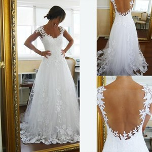White A-Line Cap Sleeve Floral Applique Wedding Dress With Sheer Back