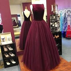 Elegant Burgundy Sleeveless V-Back A-Line Floor Length Tulle Prom Gown