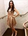 Simple Champagne Sequin Cap Sleeve Knee Length A-Line Homecoming Dress