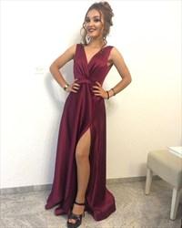 Simple Burgundy Sleeveless V-Neck A-Line Evening Dress With Side Split