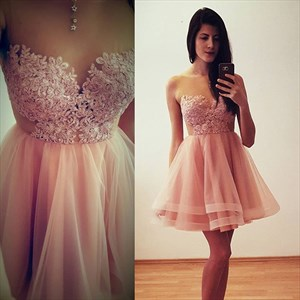 Blush Pink Short Strapless Lace Bodice Tulle A-Line Homecoming Dress