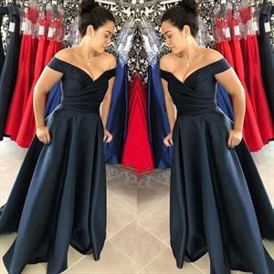 Navy Blue Off The Shoulder V-Neck A-Line Floor Length Evening Dress