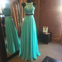 Turquoise Two-Piece Chiffon A-Line Sleeveless Prom Dress With Lace Top