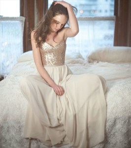 Champagne A-Line Sequin Bodice Chiffon Bottom Floor Length Prom Dress