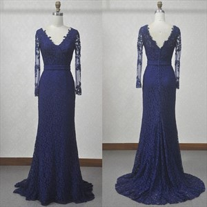 Illusion Long Sleeve V-Neck Lace Overlay Mermaid V Back Evening Dress