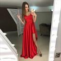Elegant Burgundy Sleeveless V Neck A-Line Evening Gown With Side Split