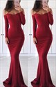 Burgundy Off The Shoulder Mermaid Long Evening Dress With Long Sleeve