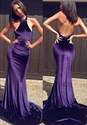 Elegant Purple Sleeveless Halter Mermaid Evening Dress With Open Back