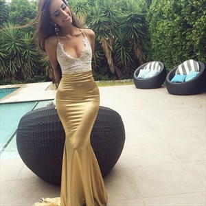 Champagne Spaghetti Strap Mermaid Long Prom Gown With Lace Embellished
