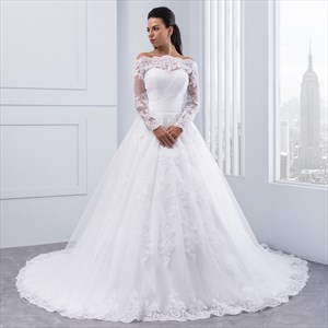 Illusion Off The Shoulder A-Line Lace Wedding Dress With Long Sleeves