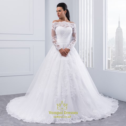 Illusion off the shoulder a line lace wedding dress with for Wedding dresses off shoulder sleeves