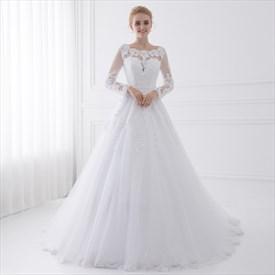 Illusion Long Sleeve Floor Length A-Line Tulle Ball Gown Wedding Dress