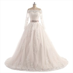 Off Shoulder Long Sleeve Floor Length A-Line Wedding Dress With Belt
