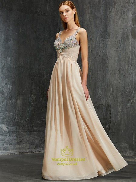 Sleeveless Chiffon Ruched Empire Waist Evening Dress With
