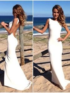 Simple Elegant Sleeveless Chiffon Long Evening Dress With Open Back