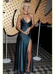 Backless Spaghetti Strap V-Neck A-Line Evening Dress With Side Split