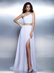 White Chiffon Beaded One Shoulder A-Line Evening Dress With Side Split