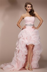 Light Pink Strapless Sweetheart High Low Ruffle Prom Dress With Train