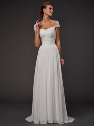 Elegant Cap Sleeve V-Neck A-Line Floor Length White Chiffon Prom Dress