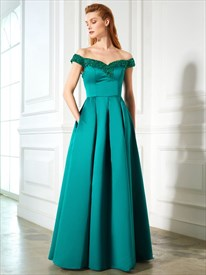 Elegant Embellished Off The Shoulder A-Line Prom Dress With Pockets