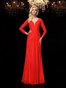 Simple Elegant Red Chiffon Floor Length Prom Dress With Long Sleeve