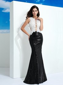 Black And White Sleeveless Lace Top Sequin Bottom Mermaid Prom Dress