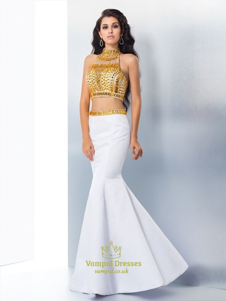 Two Piece Sleeveless Mermaid Prom Dress With Illusion Jeweled Bodice