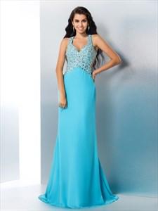 Aqua Blue Sleeveless Jeweled Bodice Chiffon Prom Dress With Open Back
